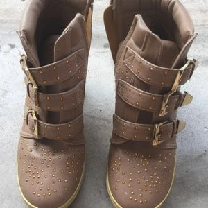 Light Brown Wedges Ankle Boots